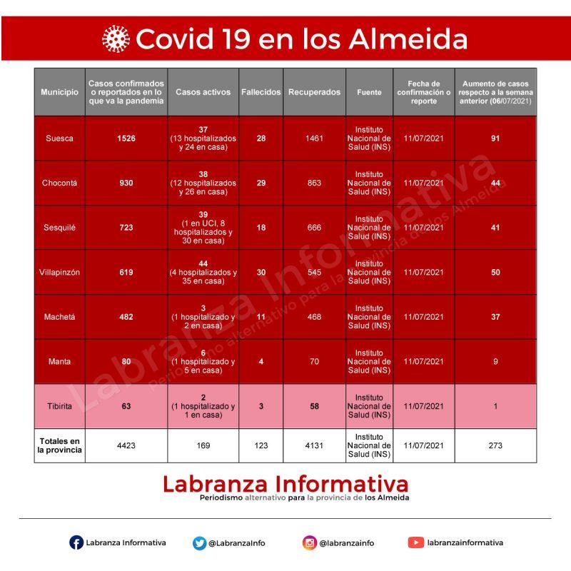 Cifras de coronavirus Covid 19 en la provincia de los Almeida 12/07/2021