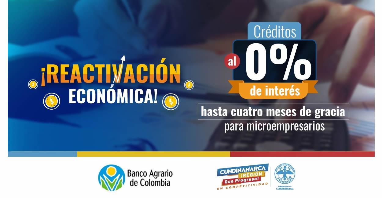 Créditos bancarios al 0% de interés para microempresarios de 65 municipios de Cundinamarca